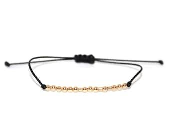 CUSTOM // Name, Word or Initials Morse Code Beaded Nylon Cord Bracelet (14K Gold Filled) - Custom Morse Code Bracelet, Personalized Bracelet