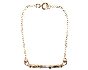 HOPE // Morse Code Beaded Chain Bracelet (14K Gold Filled) - Hope Morse Code Bracelet, Hope Bracelet, Hope Beaded Bracelet, Hopeful Bracelet