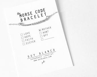 MOTHER // Morse Code Beaded Chain Bracelet (Rose Gold Filled) - Mother's Day, Mom Bracelet, Mother Morse Code, Mother Bracelet, Gift for Mom