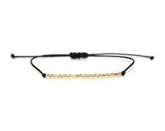 FIGHTER // Morse Code Beaded Nylon Cord Bracelet (14K Gold Filled) - Fighter Bracelet, Fighter Morse Code Bracelet, Fighter Beaded Bracelet