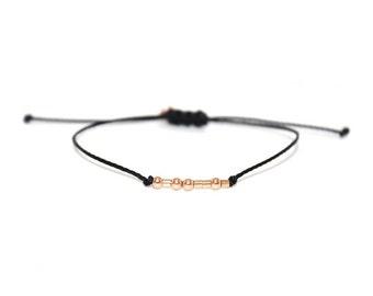 AUNT // Morse Code Beaded Nylon Cord Bracelet - Aunt Bracelet, Aunt Morse Code Bracelet, Aunt Beaded Bracelet, Auntie Bracelet