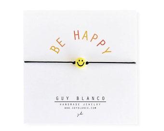 The Be Happy Bracelet // Smiley Face Bracelet, Smile Bracelet, Smiley Face Beaded Bracelet, Happy Bracelet, Smile Bead, Happy Face Bracelet