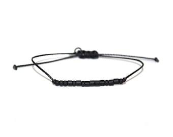 STRONG // Matte Black Beaded Morse Code Nylon Cord Bracelet - Strong Bracelet, Strong Morse Code Bracelet, Strong Beaded Bracelet, BE STRONG
