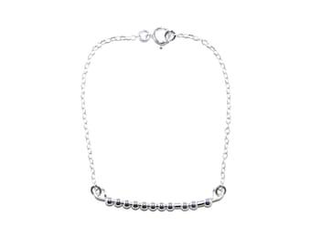 CUSTOM // Name, Word or Initials Morse Code Beaded Chain Bracelet (Sterling Silver) - Custom Morse Code Bracelet, Personalized Morse Code