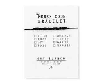 WARRIOR // Matte Black Beaded Morse Code Nylon Cord Bracelet - Warrior Bracelet, Warrior Morse Code Bracelet, Warrior Beaded Bracelet