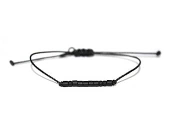 YOU // Matte Black Beaded Morse Code Nylon Cord Bracelet - Simple, Minimal, Be You Bracelet, Be You Morse Code Bracelet, You Bracelet