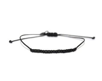 PATIENCE // Matte Black Beaded Morse Code Nylon Cord Bracelet - Patience Bracelet, Patience Morse Code Bracelet, Patience Beaded Bracelet
