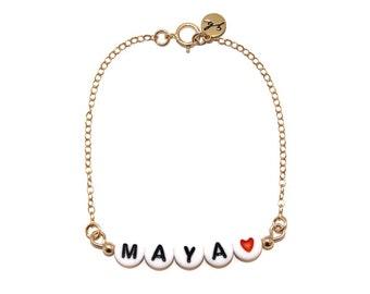 CUSTOM // White Letter Bead Chain Bracelet - Custom Name Bracelet, Custom Word Bracelet, Custom Letter Bead Bracelet