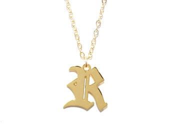 The Old English Initial Necklace (14K Gold Filled) - Letter Necklace, Initial Necklace, Alphabet Necklace, Custom Initial Necklace