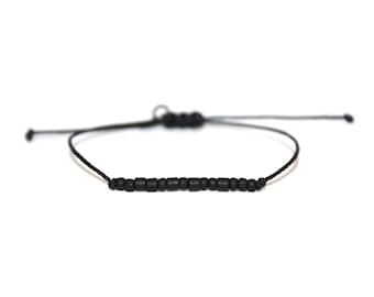 UNCLE // Matte Black Beaded Morse Code Nylon Cord Bracelet - Uncle Bracelet, Uncle Morse Code Bracelet, Uncle Beaded Bracelet, Mens Bracelet