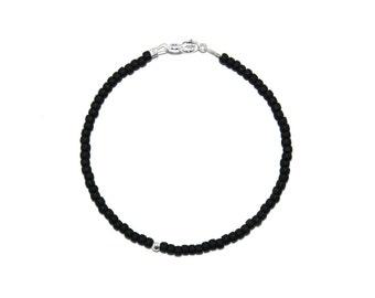 Simple Matte Black & .925 Sterling Silver Beaded Bracelet - Black Seed Bead Bracelet, Matte Black Beaded Bracelet, Simple Beaded Bracelet