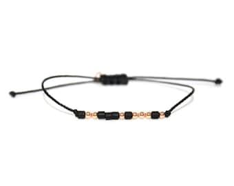 NAMASTE // Two-toned Morse Code Nylon Cord Bracelet (Rose Gold Filled + Matte Black) - Namaste Morse Code Bracelet, Namaste Bracelet, Yoga