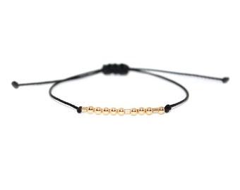 BFF // Morse Code Beaded Nylon Cord Bracelet (14k Gold Filled) - Best Friend, BFF Bracelet, BFF Morse Code Bracelet, Bestie Bracelet