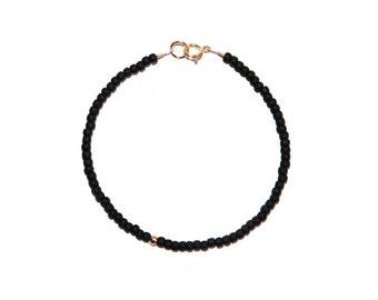 Simple Matte Black & 14k Gold Filled Beaded Bracelet - Black Seed Bead Bracelet, Matte Black Bead Bracelet, Simple Beaded Bracelet, Minimal