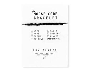 I LOVE YOU // Matte Black Beaded Morse Code Nylon Cord Bracelet - I Love You Bracelet, I Love You Morse Code Bracelet, Valentine's Day Gift