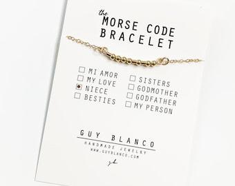 NIECE // Morse Code Chain Bracelet (14K Gold Filled, Sterling Silver, Rose Gold Filled) - Niece Morse Code, Niece Bracelet, Niece Present