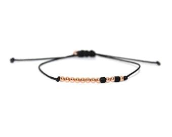 SISTER // Two-toned Beaded Morse Code Nylon Cord Bracelet (Rose Gold Filled + Matte Black) - Sister Morse Code Bracelet, Sister Bracelet