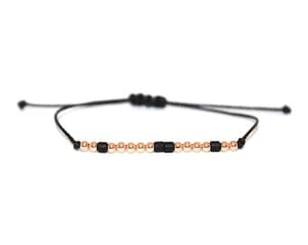 CUSTOM // Two-toned Custom Morse Code Beaded Nylon Cord Bracelet (Rose Gold Filled + Matte Black) - Custom Morse Code Bracelet, Personalized