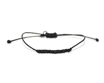 PEACE // Matte Black Beaded Morse Code Nylon Cord Bracelet - Peace Bracelet, Peace Morse Code Bracelet, Peace Beaded Bracelet