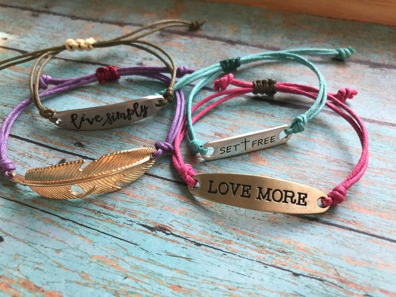Love Live Simply Stackable Bracelets Simple Cord Bracelets Feather Inspirational Cross Motivational Waxed Cotton Cord Bracelet