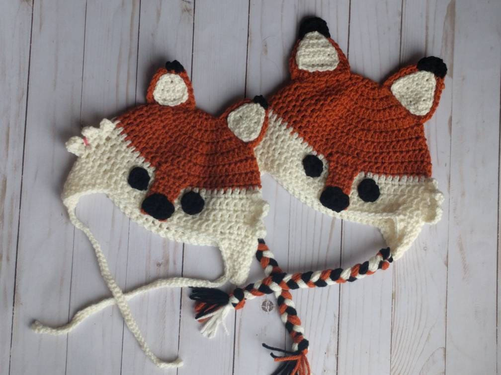 Fox Hat Ready To Ship Adult Free Shipping Winter Hat Etsy
