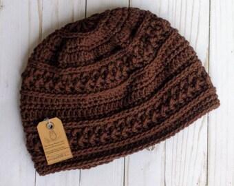 Winter hat, READY-TO-SHIP, brown,  wanderlust,  stocking hat, textured winter hat, handmade, crochet, knit, men's hat men's accessory