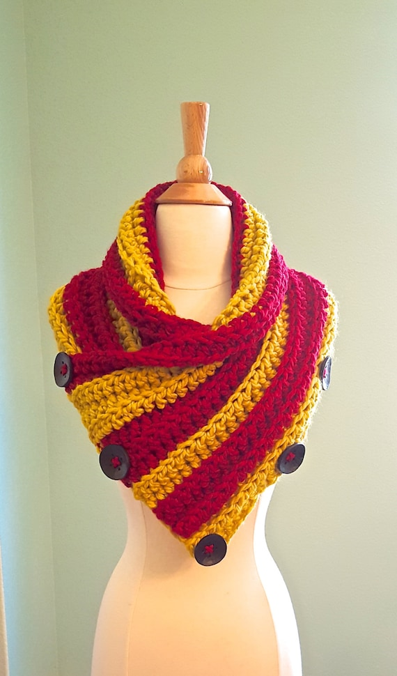 Items Similar To Harry Potter Gryffindor Scarf Chunky Crochet