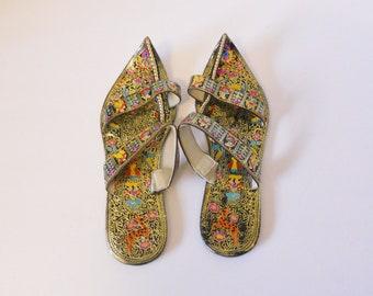 7dcfa8521dba 1960 s Vintage Handmade Hand Painted Sandals Flats - India
