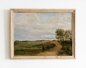 Country landscape painting, Farmhouse wall decor, Vintage art, PRINTABLE art