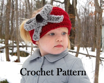 Griffin-BOW-Biffin Warmer, Crochet Pattern (Toddler, Child, Adult size), Headband/Neck Warmer, Instant Download