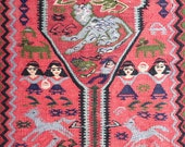 3.5x9.5 Pictorial Persian tribal Dowry kilim unique Kurdish rug Characters runner Vintage Folk art family cats dinosaurs horses camels snake