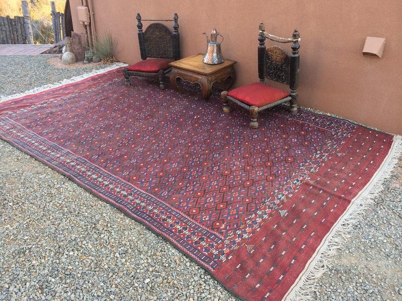 Two Unique Turkman Cushions With Antique tribal Turkman Kilim 1920
