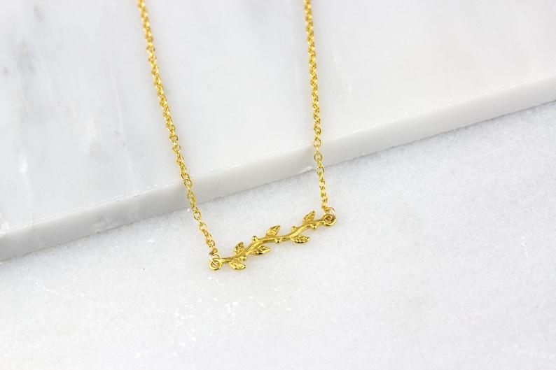 37893a7fd Olive Branch Pendant/ Gold Branch Pendant/ Gold Leaf Necklace/   Etsy
