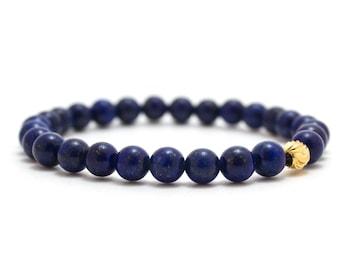 Lapis Stone Bracelet, Navy Womens Bracelet, Lapis Bracelet, Luxury Bracelet, Dainty Gold Bracelet, Gold Lapis Bracelet, Serenity Blue
