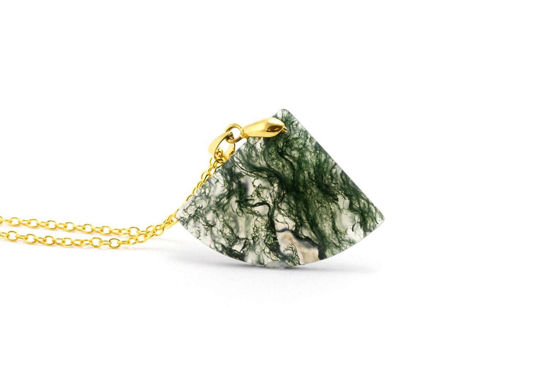 Gold Moss Agate Pendant/ Moss Agate Fan Necklace/ 18K Gold