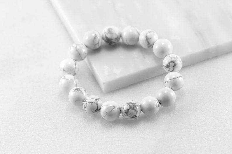 Howlite Bracelet Men Howlite Bracelet 12mm Bead Bracelet White Stone Bracelet Mens Beaded Bracelet