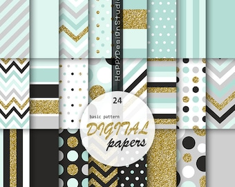 Mint   gold digital paper scrapbooking background pattern soft blue and  glitter gold polka dot chevron stripe basic black gray papers 86b60e374e6e