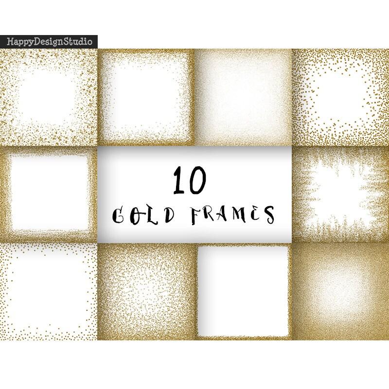 Gold Glitter Bilderrahmen Digitale Papier Clipart golden