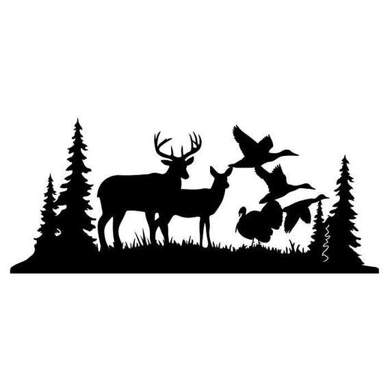 Deer Buck Turkey Duck Clipart Silhouettes Scene Eps Dxf Pdf Etsy