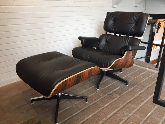 Astonishing Eames Replica Charles Leather Lounge Chair And Ottoman In Italian Leather Walnut Or Santos Palisander Creativecarmelina Interior Chair Design Creativecarmelinacom