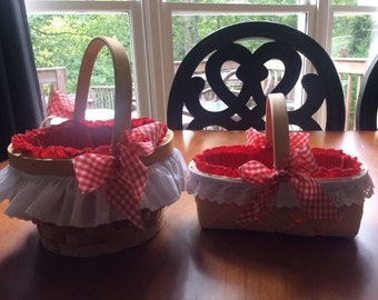 Red Lined basket with white ruffle trim