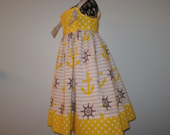 Nautical tie knot sundress/jumper in grey and yellow variation