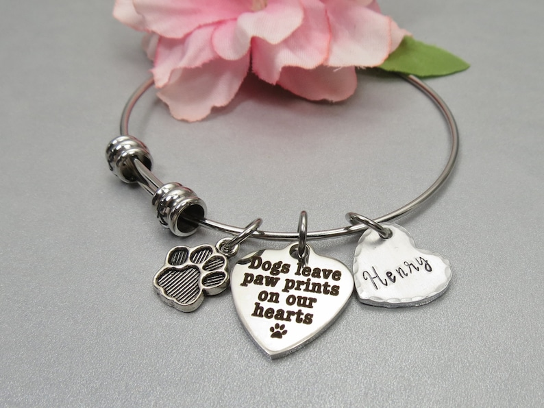 Memory Jewelry. Personalized Custom Hand Stamped Name on Heart Charm Dogs Leave Paw Prints on our Hearts Bracelet