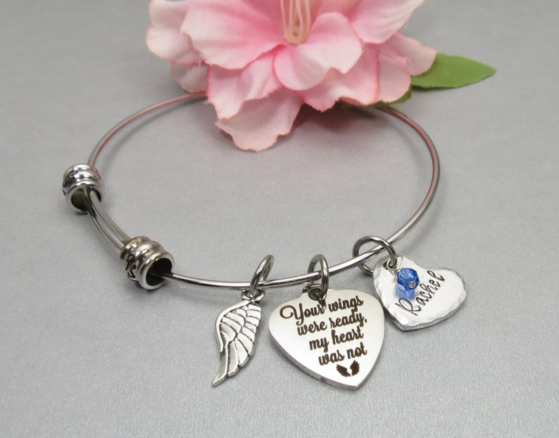 Your Wings Were Ready my Heart Was Not Personalized Memory Charm Bangle Bracelet with Hand Stamped Name on Heart Charm