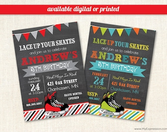 Boy birthday invitations etsy hockey skate chalkboard birthday party invitations winter ice skating boy birthday invitations digital or printed filmwisefo