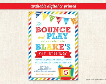 Boy birthday invitations etsy brawny stripes bounce house boys birthday invitations pump it up birthday party digital or printed filmwisefo