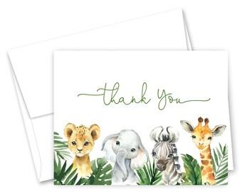 Custom Thank You Card Safari Thank You Notes Green Safari Animal Thank You Cards Thank You Notes Animal Thank You Card