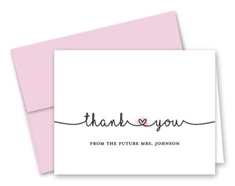 7954fd1cd132 Pink Heart Bridal Shower Thank You Cards