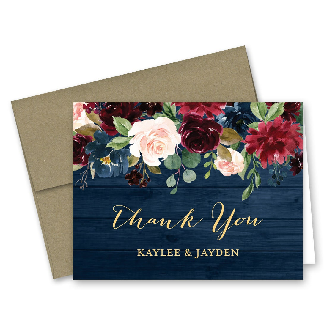 Navy Burgundy Floral Wood Thank You Cards Rustic Country Etsy