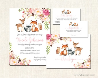Pink Woodland Animals Baby Shower Invitations -  Boho Watercolor Floral Rustic Baby Shower Thank You Cards